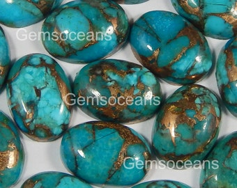 5 Pieces Lot Blue Copper Turquoise 13X18 mm Oval Shape Gemstone Cabochon
