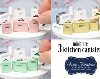 Kitchen Canisters SET (3pcs) boxes with Removable Lids container - handmade dollhouse- one inch scale 1:12 storage pantry