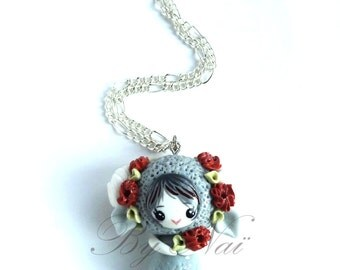 Handmade necklace with pendant character kawaii pet in polymer clay