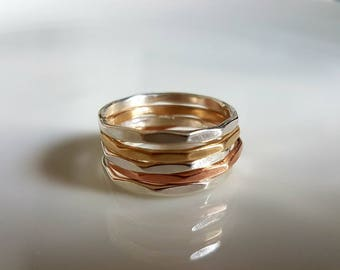 Sterling silver, 9ct red gold and 9ct yellow gold skinny multi sided stacking rings, made to order in Wales