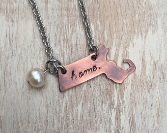 "Massachusetts State Copper Handstamped Necklace with 20"" stainless steel chain with freshwater pearl"