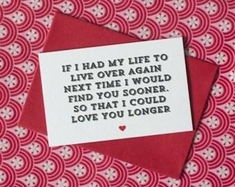 Mini 'If I Had My Life Again' Card, Romantic Card, Valentines Card, Love Card, 85x55 Card