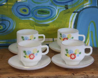 Vintage White Milk glass Tea Cups and Saucers