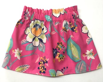 Pink Floral Skirt, Bright Pink Skirt, Bright Floral Skirt, Floral Skirt, Toddler Skirt, Baby Skirt, Girls Skirt, Baby Girls Skirt, Skirt