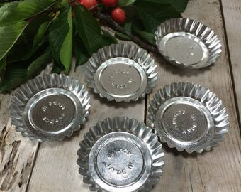 5 Little Fluted French Tartlet Moulds 'Made in France'