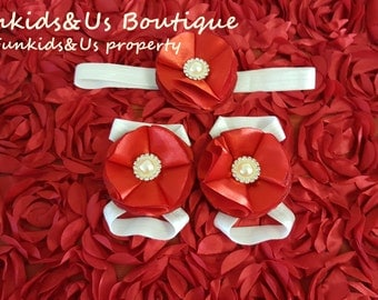 Red Flower Satin   Baby Barefoot Sandals and headband  - Baby Shoe , Toddler, Girl shoe -Bottomless Sandles