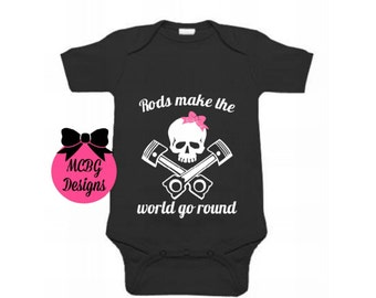 Rods Make The World go Round Onsie Or Shirt•Hot Rod Kids Shirts•Rockabilly Baby Clothes•Girls Car Shirts•Shirts•Skull Baby Onsie•Baby Shower