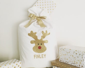 Personalised Glitter Rudolph Christmas Santa Sack