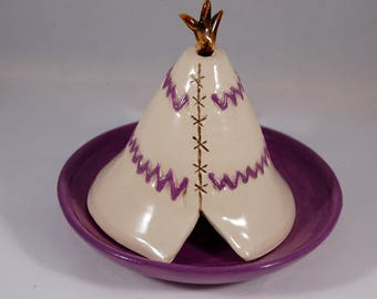 Incense Burner-Ceramic Incense Burner-Ceramic Teepee-Purple Teepee-Cone Incense Burner-Teepee Incense Burner