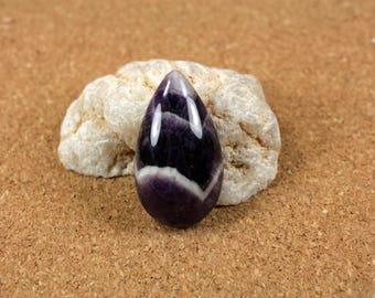 Chevron Amethyst Teardrop Pendant - Purple and White Smooth Dogtooth Amethyst Focal Bead