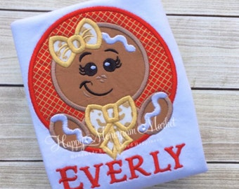 Girl Gingerbread Bow Circle Applique Patch Monogrammed First Christmas Top Shirt Tshirt bodysuit Pictures with santa Holiday