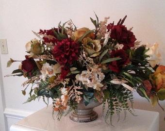 Tuscan Floral Arrangement, Floral Centerpiece, SHIPPING INCLUDED, Elegant Large Silk Floral Table Centerpiece,  Luxury Floral Home Décor