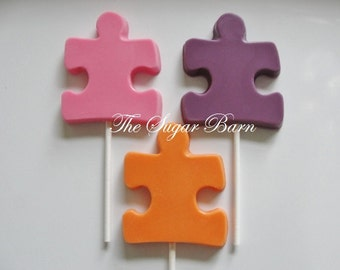 PUZZLE PIECE CHOCOLATE Lollipops*12 Count*Party Favors*Autism*Birthday Party*Jigsaw Puzzle*Kid Party Favors*Autism Fundraiser*Puzzle Favor