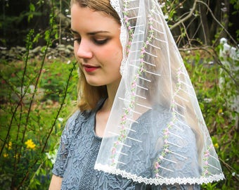 Evintage Veils~ Our Lady of Virtues Miniature Roses Embroidered  Lace Chapel Veil Mantilla D Shape or Infinity Veil Latin Mass