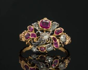Genuine Georgian Natural Ruby and Diamond Rare Giardinetti Antique Ring