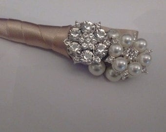 Pearl and Rhinestone Button Boutonnière.