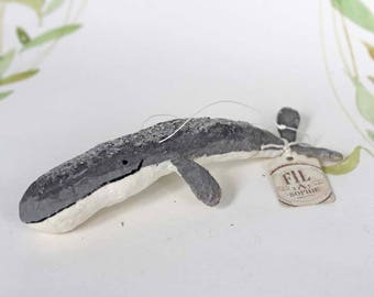 Spun cotton Christmas heirloom ornament Whale Fish