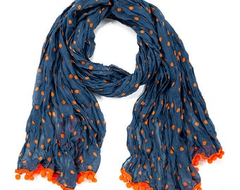 Navy & Orange Pom Pom Scarf - Originally 15.00