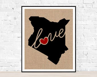Kenya Love - Burlap or Canvas Paper State Silhouette Wall Art Print / Home Decor (Free Shipping)
