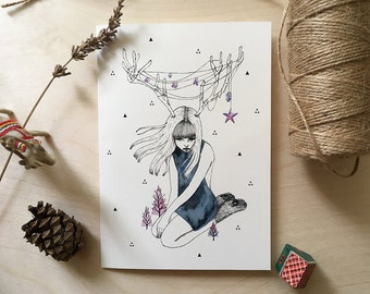 Instant Download | Printable Christmas Card | My Inner Christmas Lights | Watercolor Fashion Illustration