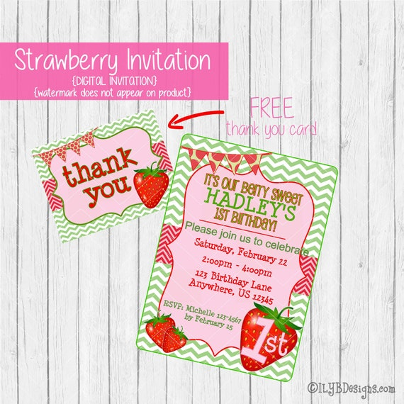 Strawberry birthday invitation strawberry party invitation plus il570xn filmwisefo