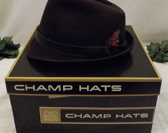 50s Champs Fedora Brown Wool Silk Finish Felt Hat size 7  1 / 4