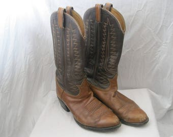 Brown Leather Tony Lama Cowboy Boots Size 9 1/2 D
