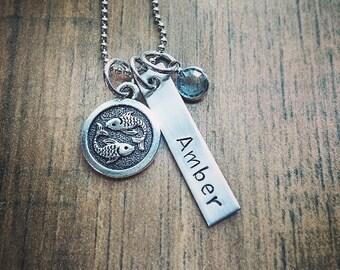 Hand Stamped Zodiac Necklace - Pisces Necklace - Personalized Name & Birthstone - Leo Aries Gemini Cancer Leo  Scorpio Sagittarius Aquarius