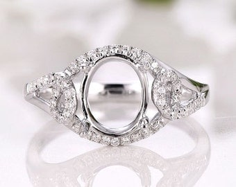 14K White Gold Oval 7x9MM Fashion Semi Mount Ring / Engagement Ring