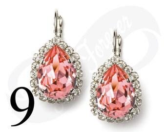Set of 9 Earrings Peach Rose Earrings Peach Earrings Leverback Rhinestone Earrings Bridal Jewelry Wedding Earrings Bridesmaid Gift