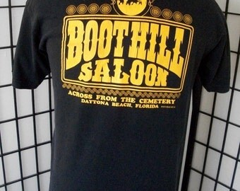 Boot Hill Saloon Daytona Beach fL tee by Murina black cotton adult shirt large l USA