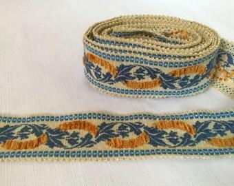 "Beautiful Vintage Blue & Gold Floral Braid Trim, 2.25"" Wide, 5 Mtrs"