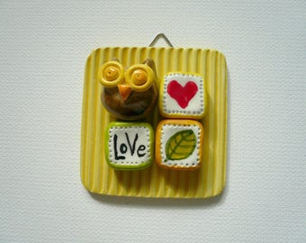 painting pottery with little OWL from hanging-picture with ceramic OWL OWL miniature ceramic-Civet-OWL