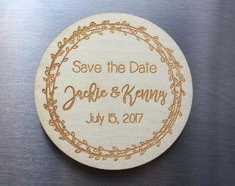 Wood Save-the-Date Magnets - Wedding Invite - Wedding Save the Date Magnets, Rustic Save the Date - Personalized Save The Date Magnets