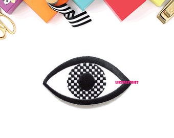 Big Eye Checkered Eye Black Color New Sew / Iron On Patch Embroidered Applique Size 8.2cm.x4.5cm.