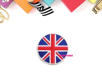 Flag Of England Circle Patch New Sew / Iron On Patch Embroidered Applique Size 7.5cm.x7.5cm.