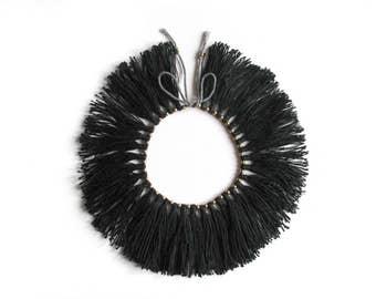 """Full Fringe Choker with brass beads, """"Black"""""""