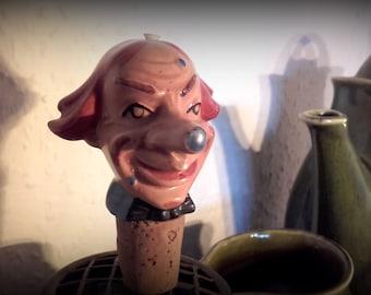 Vintage Schnapsnase 1930's porcelain Creepy Clown head liquor Bottle Pourer barware