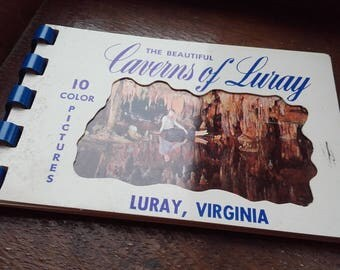 Vintage 50's Spiral Postcard book The Beautiful Caverns of Luray Virginia 4x3''