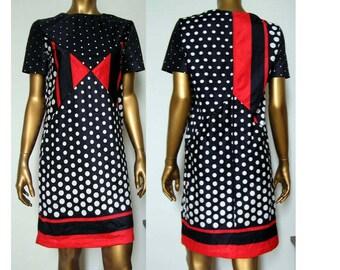 Mod Dots Stripes Color Block Knit Dress SM