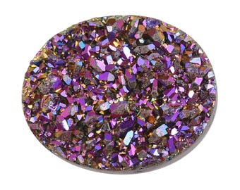 Purple Drusy Loose Gemstone Oval Cabochon 1A Quality 10x8mm 1.75 cts.
