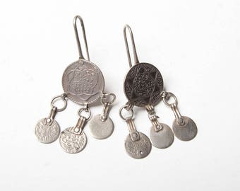 Early 20th Century coin dangle earrings. Moroccan silver coins