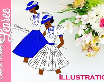 Illustration Only: Sassy Hat Lady (Polka Dot) Fashion Character Illustration