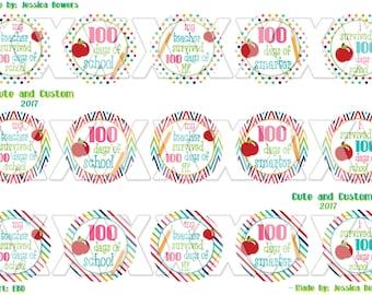 100 Days, 1 inch circles, Bottle Cap images, school, 100 days of school, 100 days smart, digital download, school bottle caps, 100 days bow