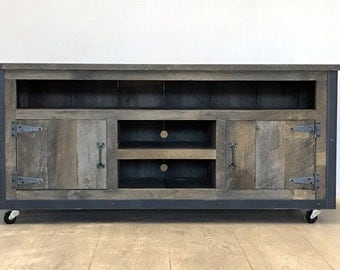Rustic Industrial weathered barn board entertainment center TV stand Reclaimed Wood 52""