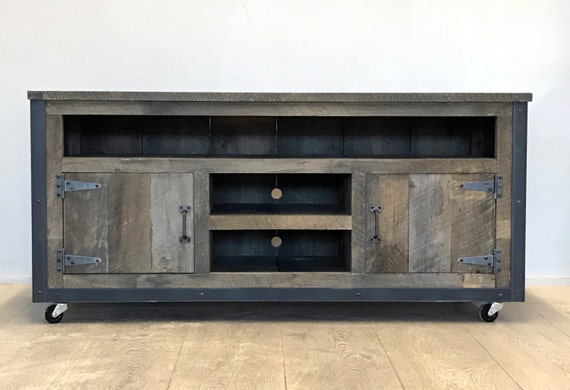 rustic industrial weathered barn board entertainment center tv. Black Bedroom Furniture Sets. Home Design Ideas