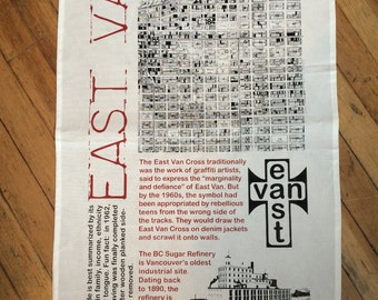 Hand printed East Van Tea Towel