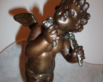 Antique French bronze spelter sculpture cherub signed HIP MOREAU circa 1890