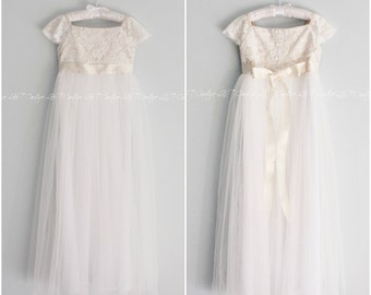 Tulle Flower Girl Dress, Lace Top Flower Girl Dress, Floor Length Flower Girl Dress, Lace Tulle Girl Dress, Tutu Skirt, HandMade in the USA