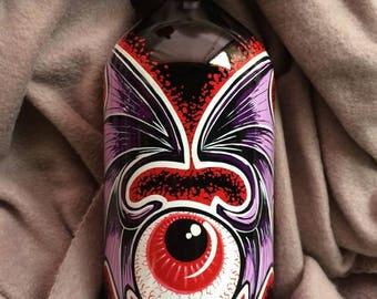 Flying Eyeball Hand Painted Bottle